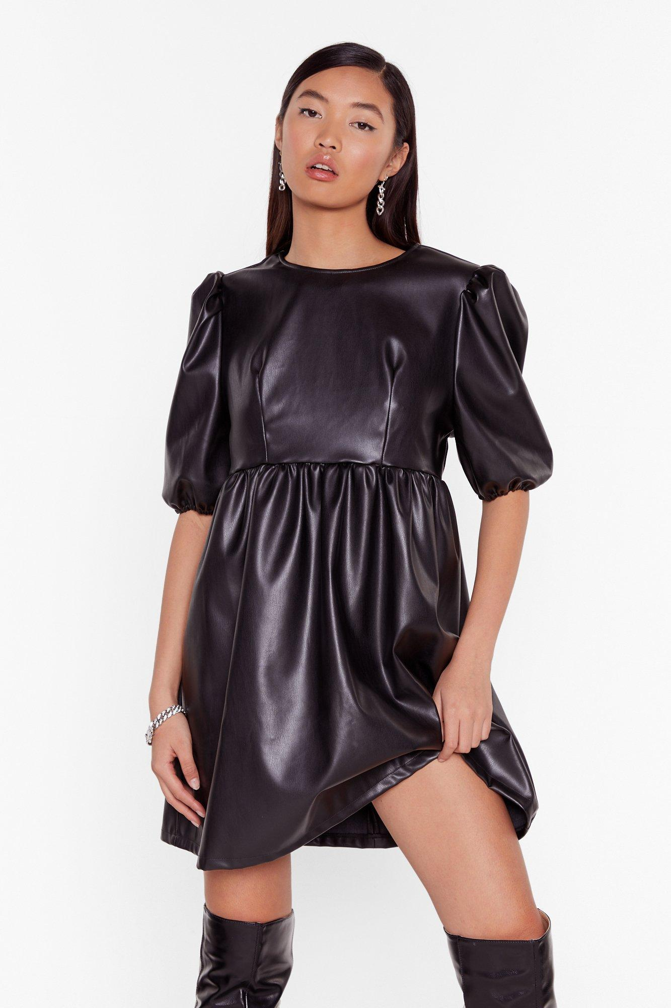 Image of Faux Leather You're in or Out Puff Mini Dress