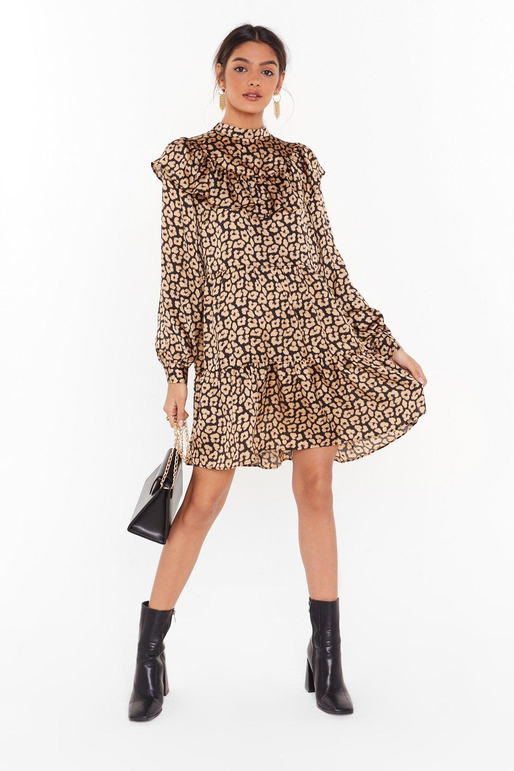 Image of Here and Meow Satin Leopard Dress
