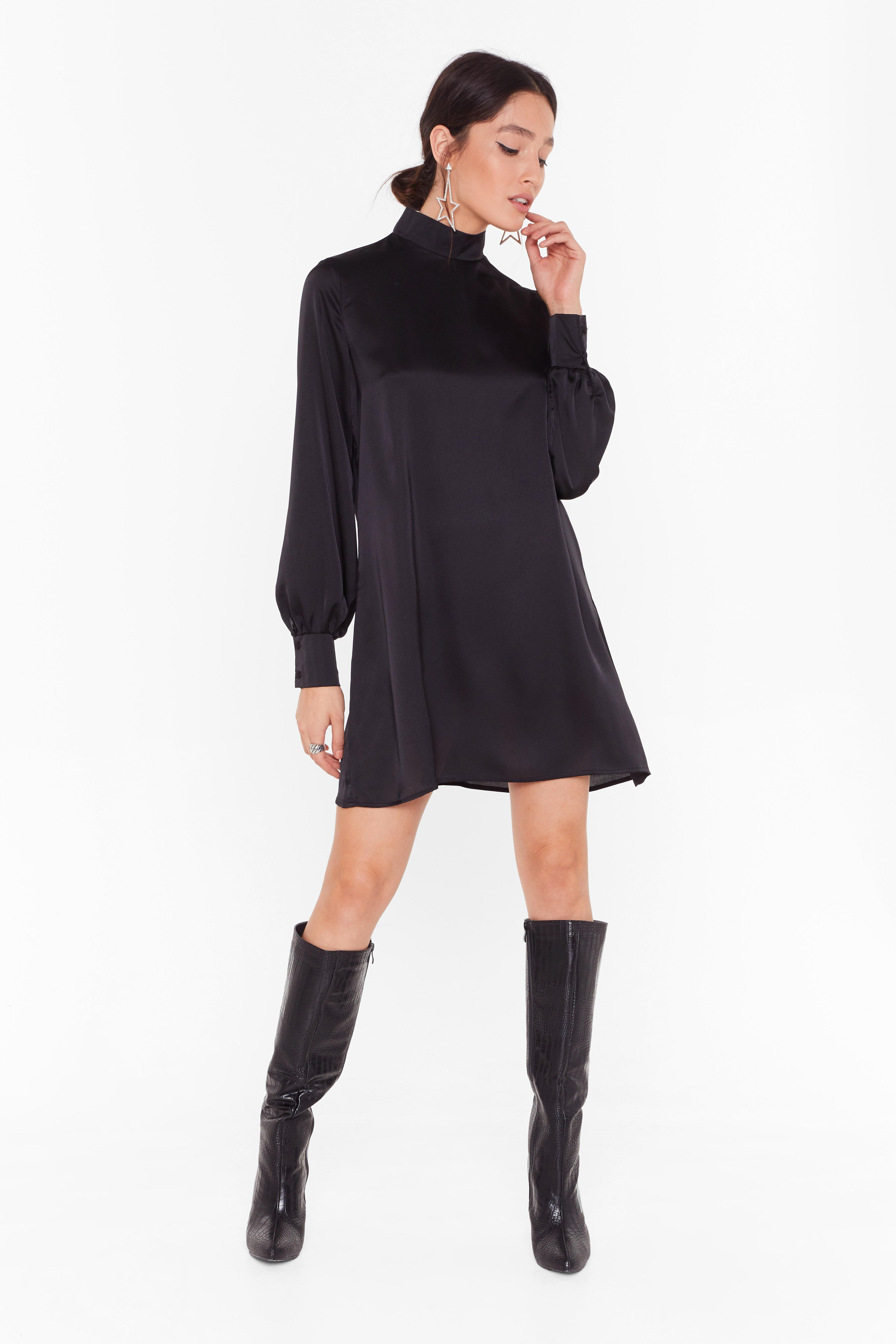 Image of Smock On Your Tail Satin Mini Dress