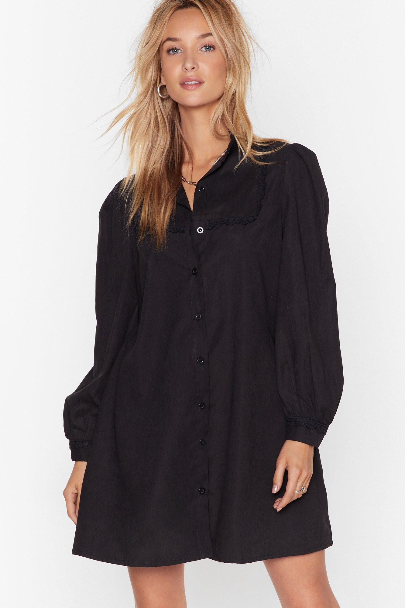 Image of Lace Go Out Tonight Shirt Dress