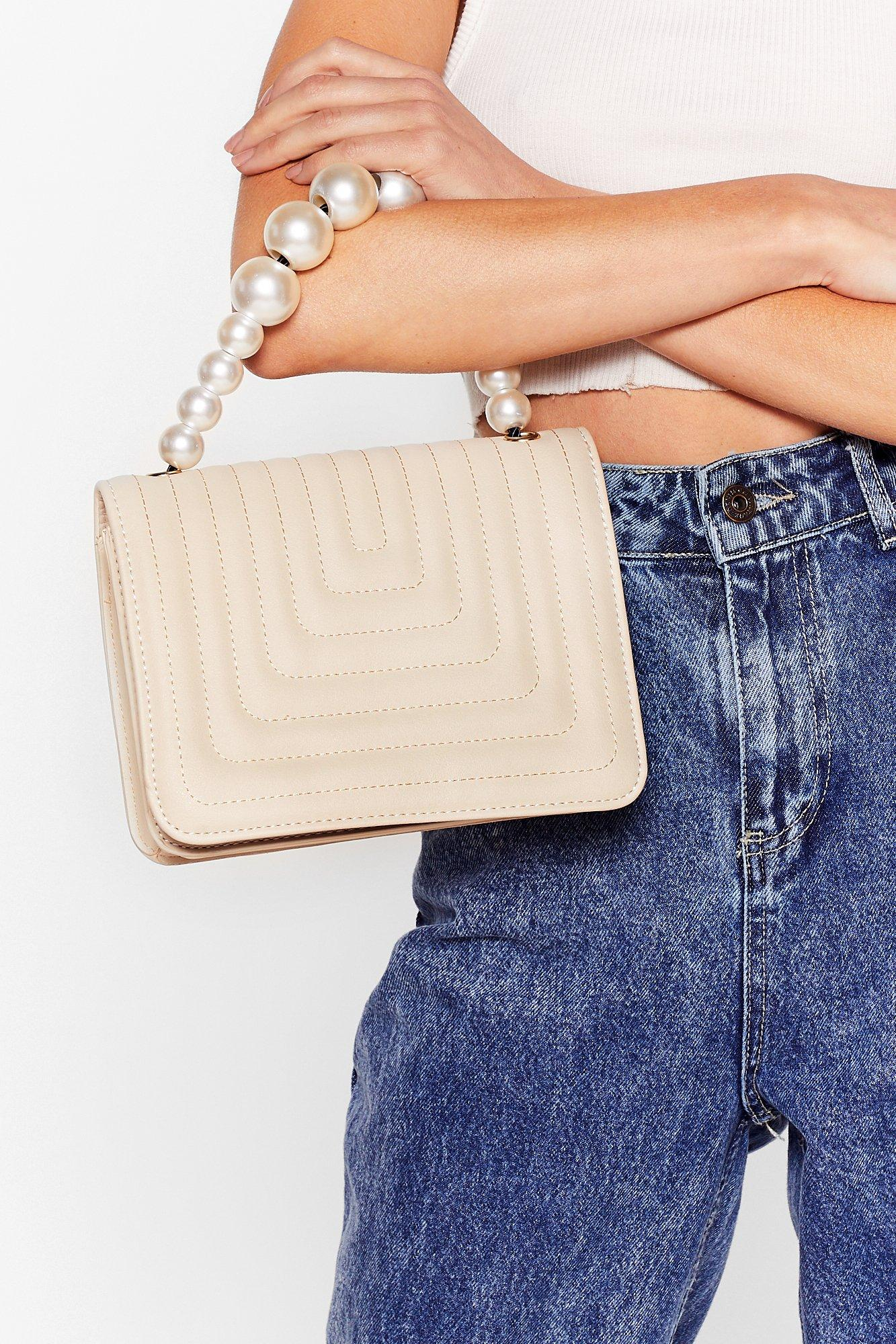 Image of Quilted beaded handle crossbody bag