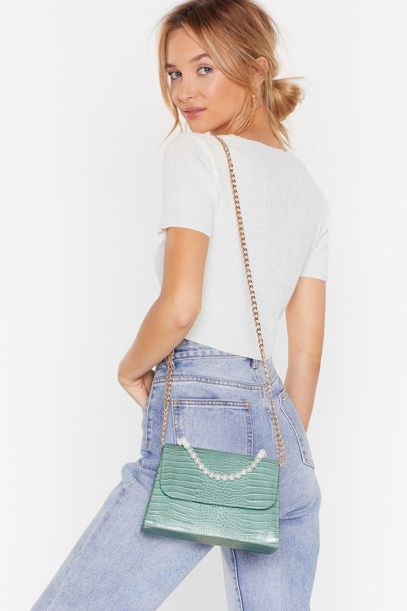 Image of WANT Grab the Pearls Croc Crossbody Bag