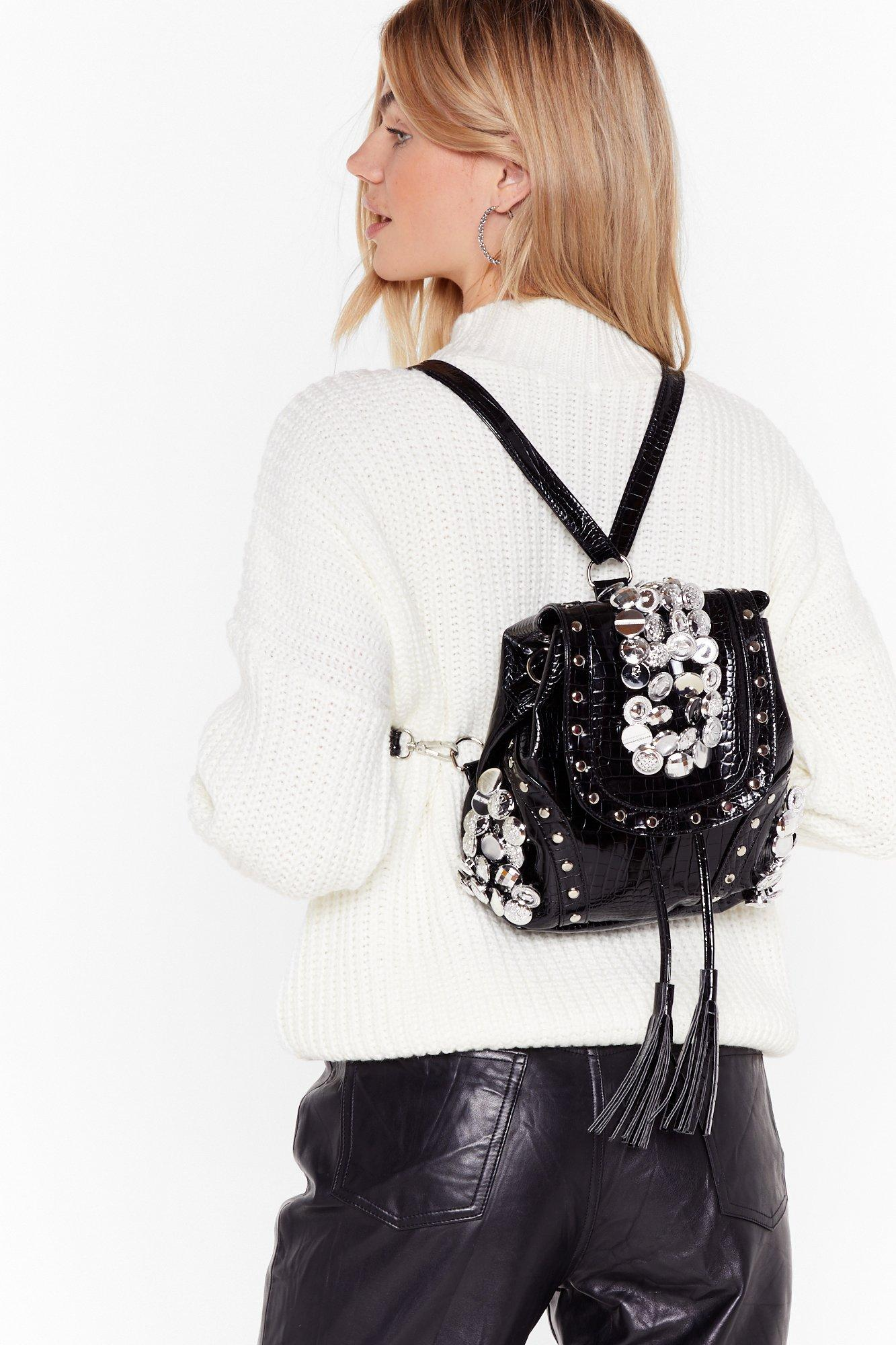 Image of Pu croc silver button backpack
