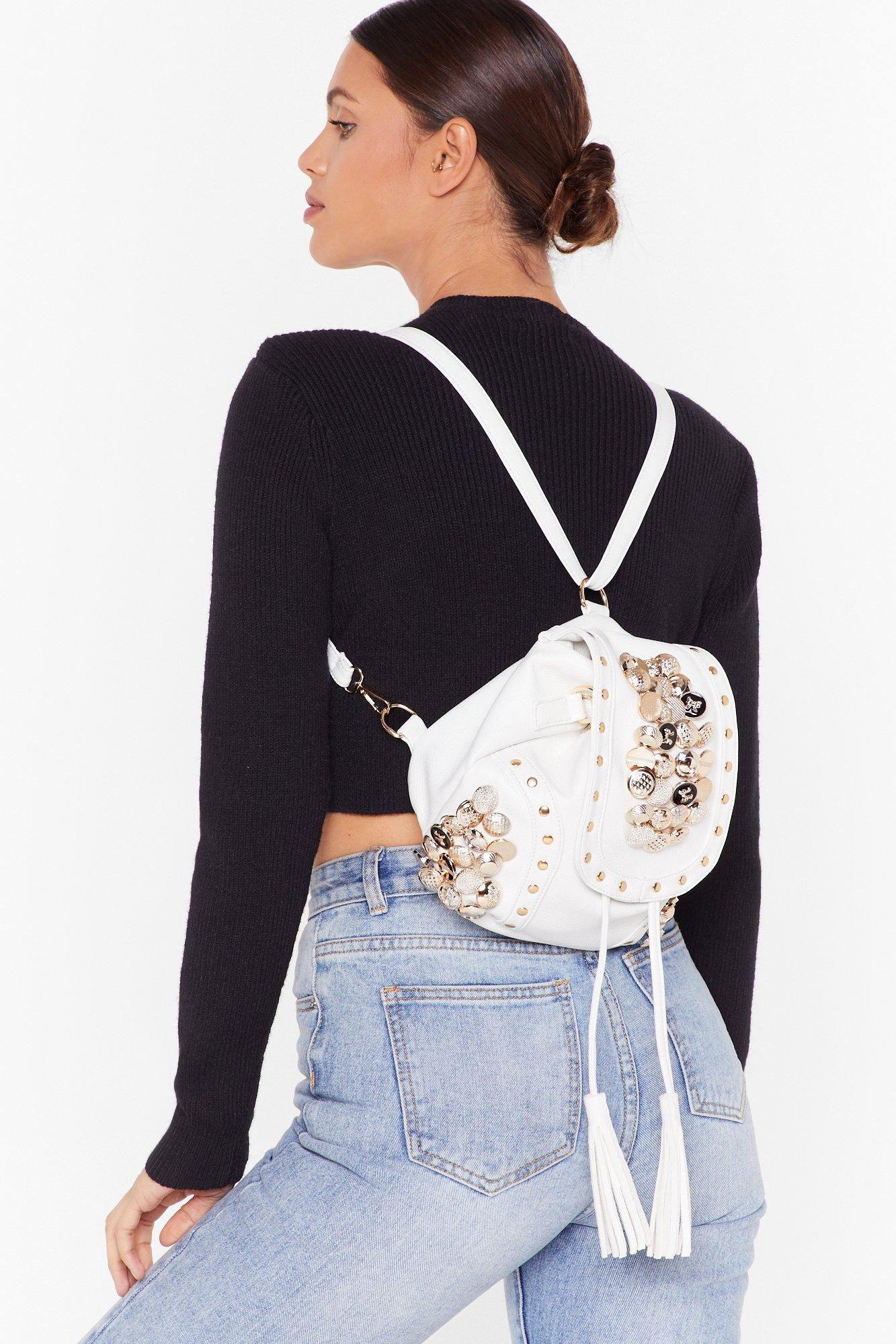 Image of WANT Button Our Way Faux Leather Backpack