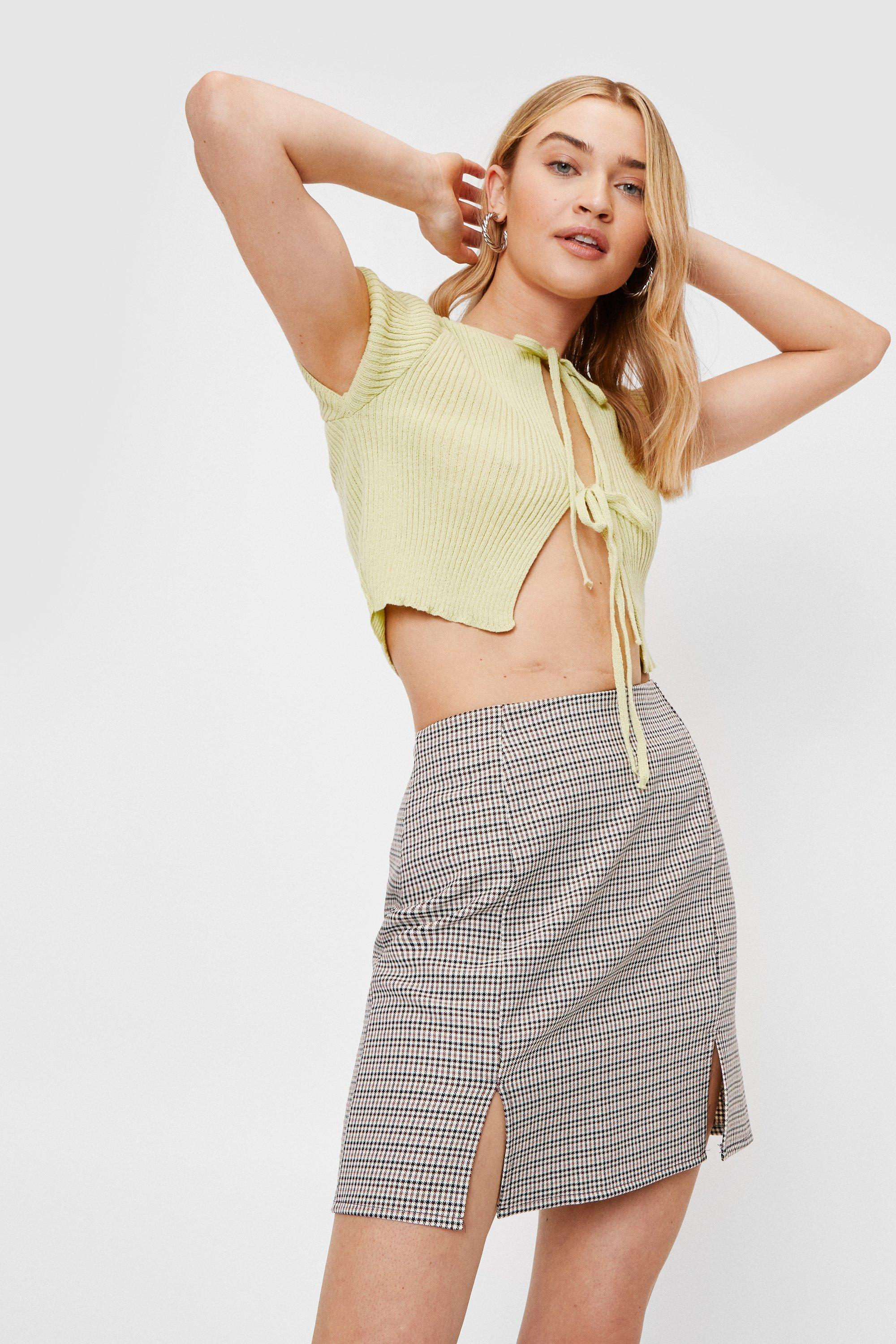 Image of We'll Slit This One Out Check Mini Skirt