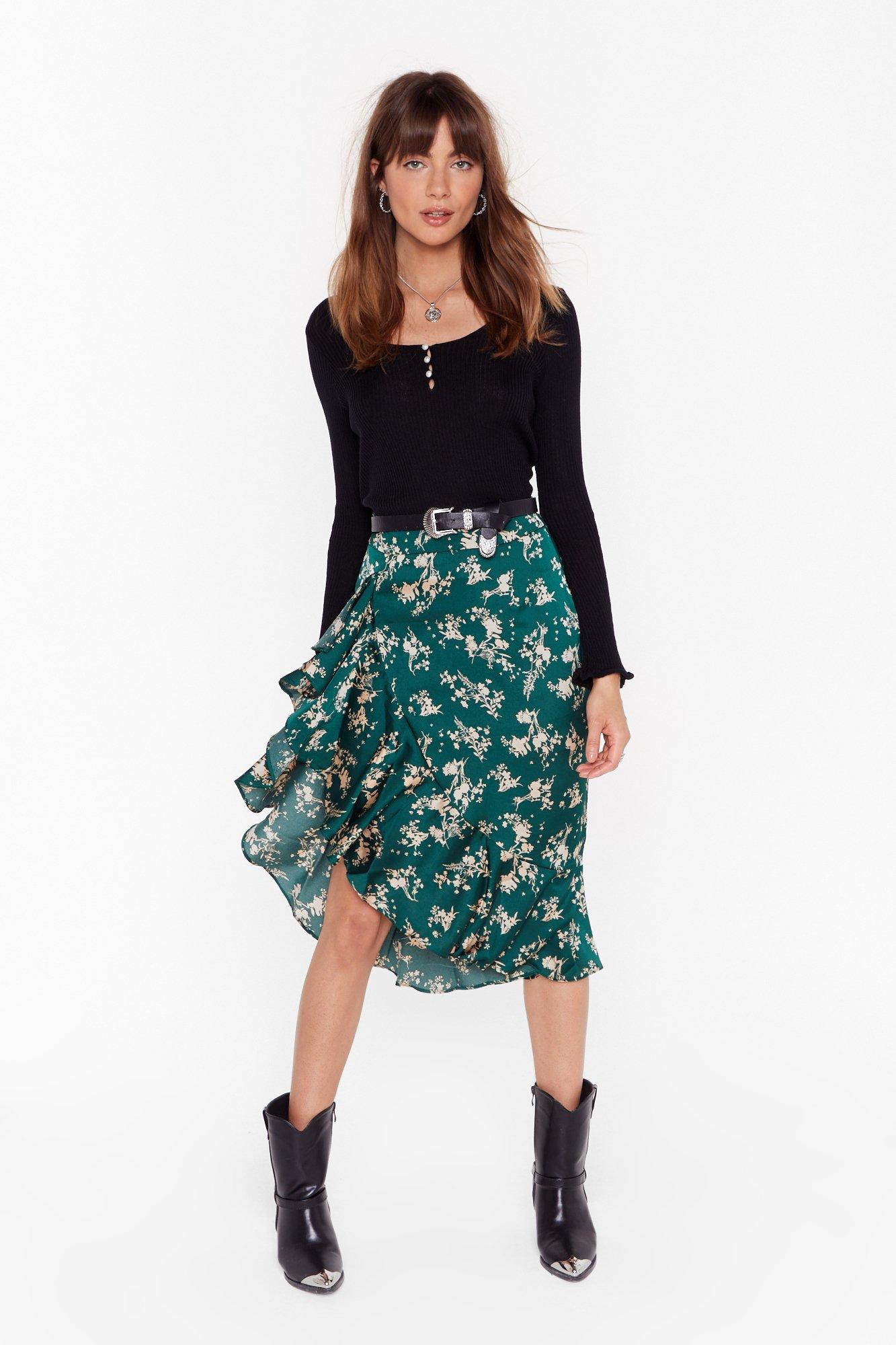 Image of Nothing Bud a Goodtime Floral Midi Skirt