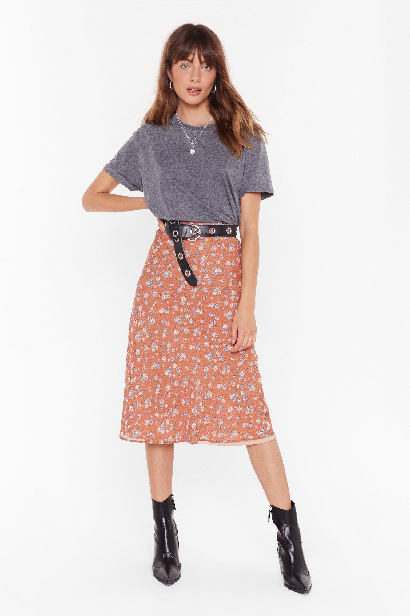 Image of If You Grow Me Floral Midi Skirt