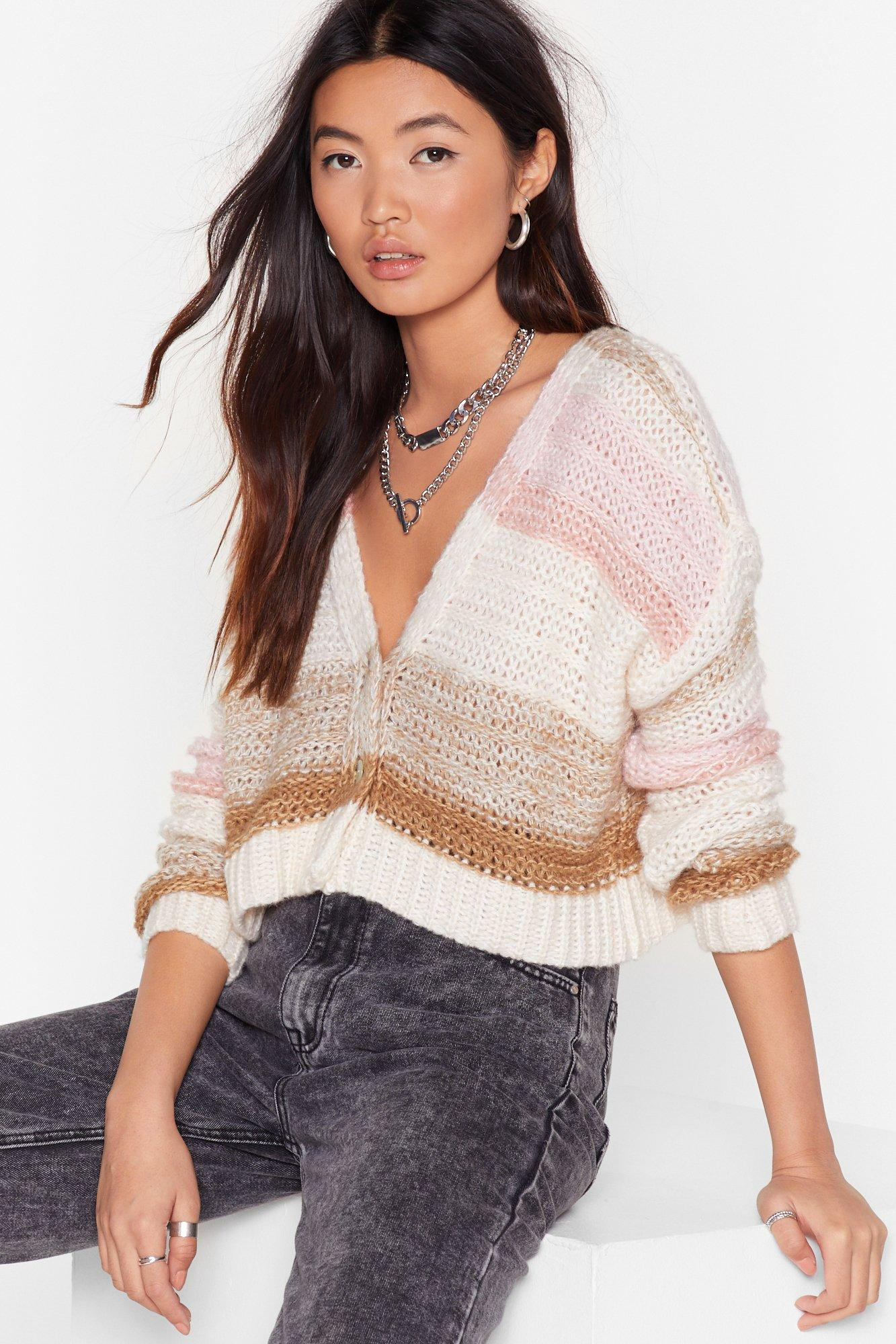 Image of What's Your Stripe Cropped Knit Cardigan
