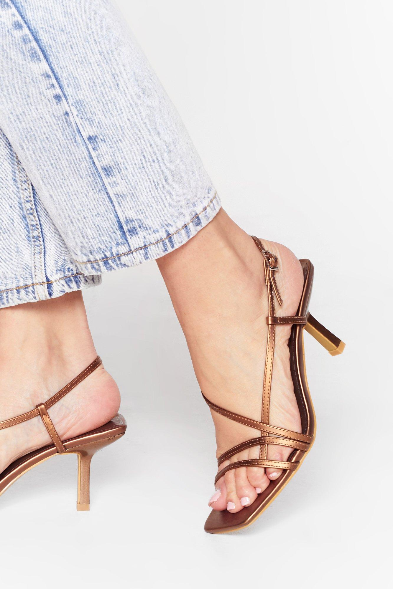 Image of Heel the Music Metallic Strappy Sandals