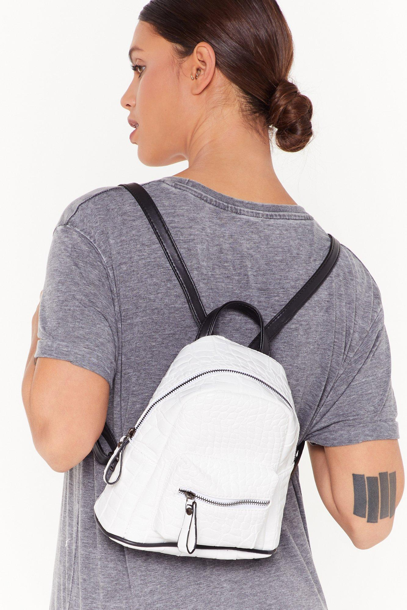 Image of WANT Back at You Croc Faux Leather Backpack