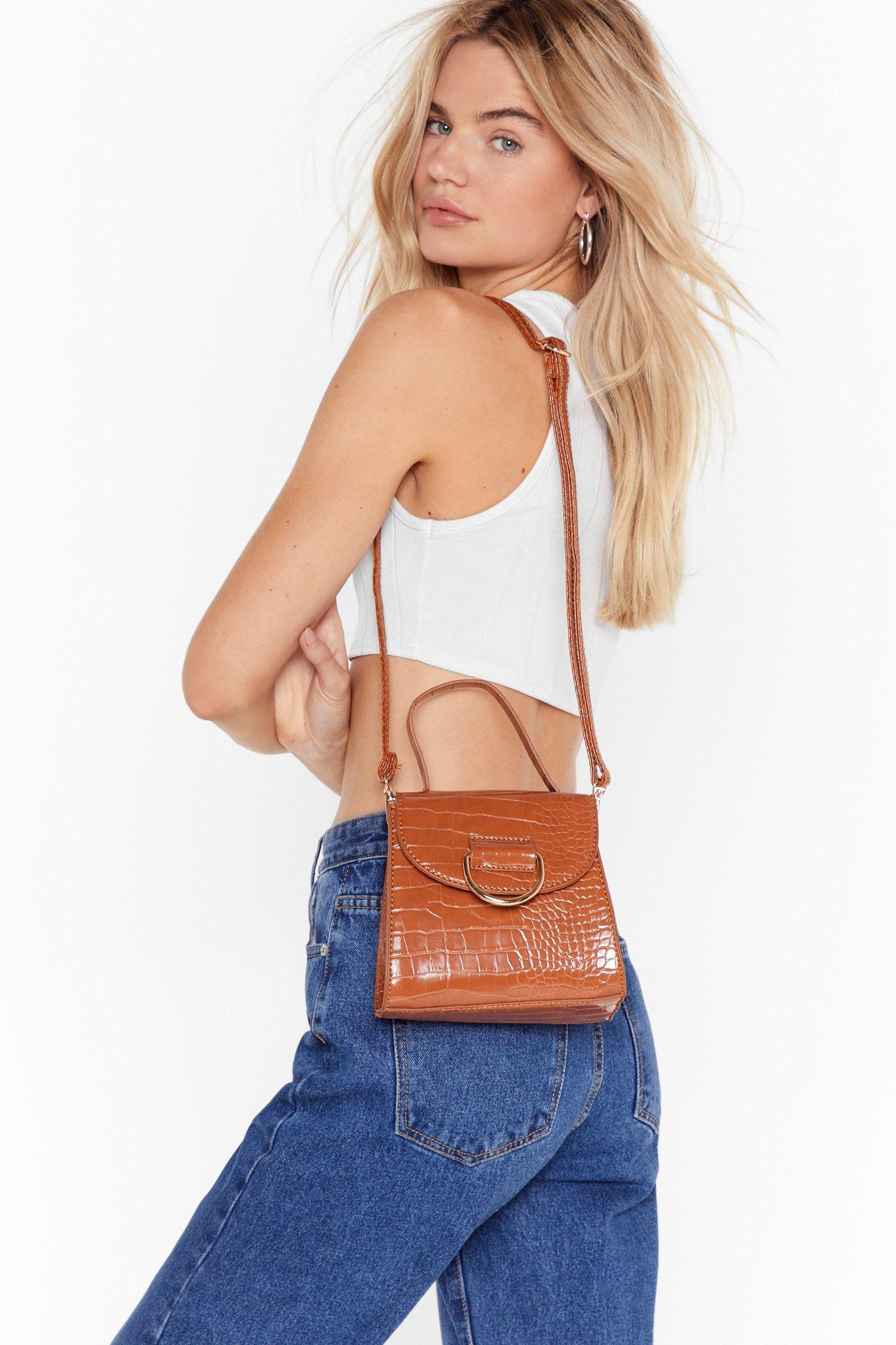 Image of WANT Croc Off Faux Leather Crossbody Bag