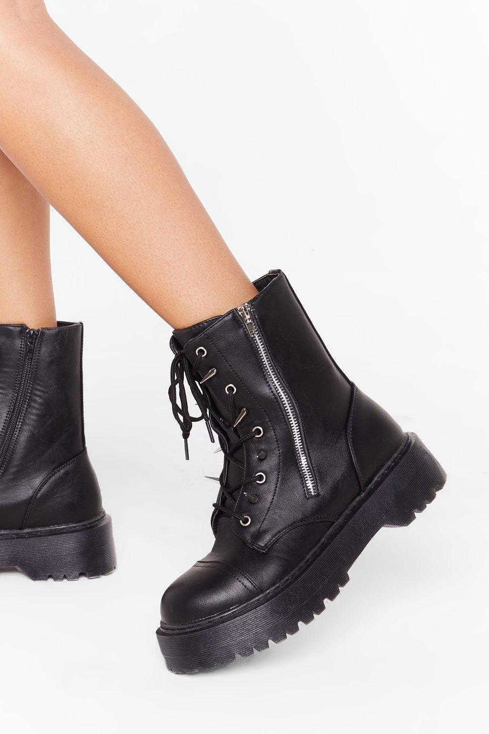 Image of A Moment Spike This Faux Leather Boots
