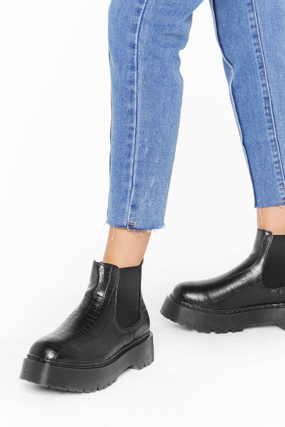 Image of Croc Yourself Out Faux Leather Ankle Boots