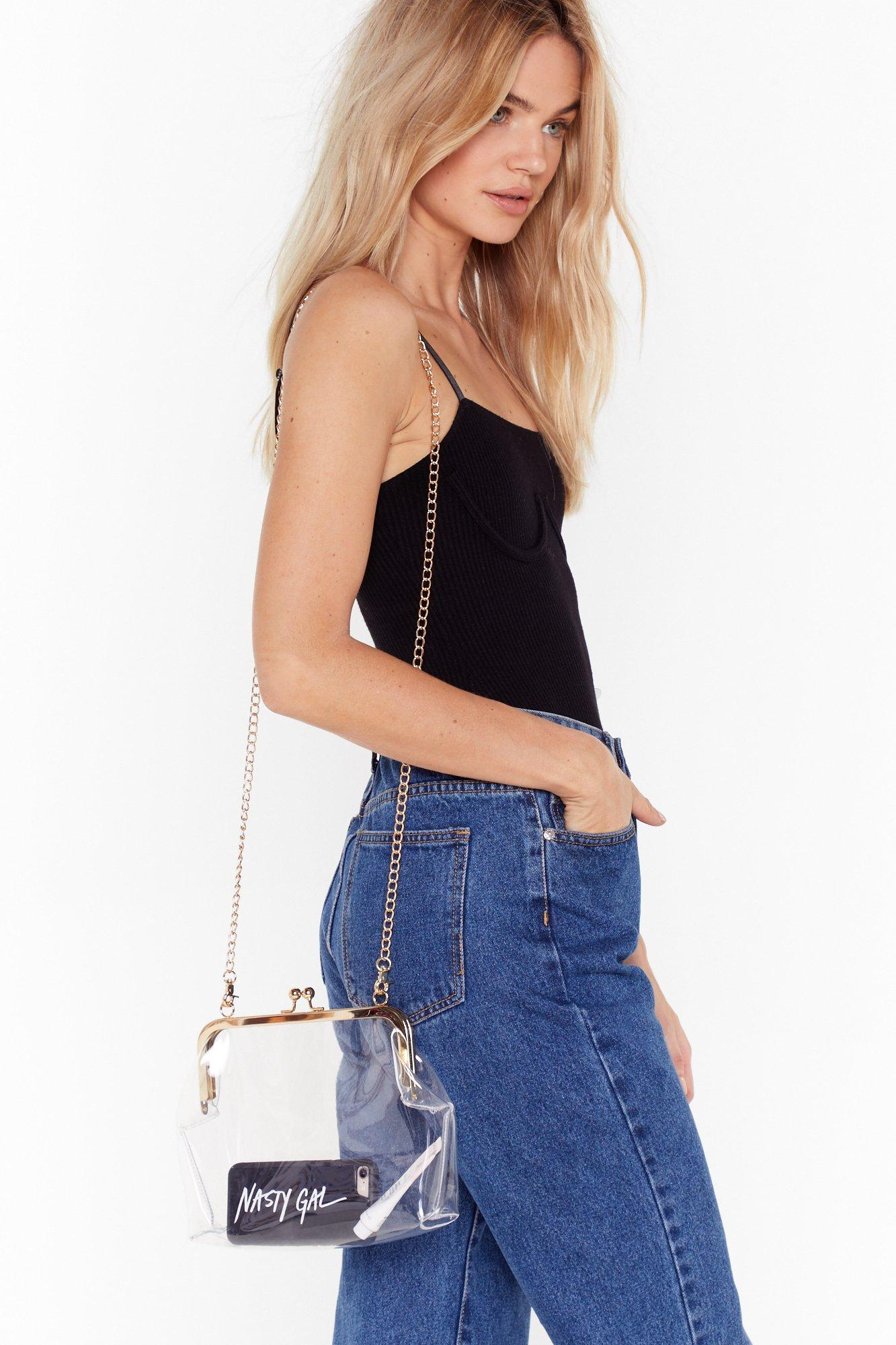Image of WANT See It So Clear Chain Crossbody Bag