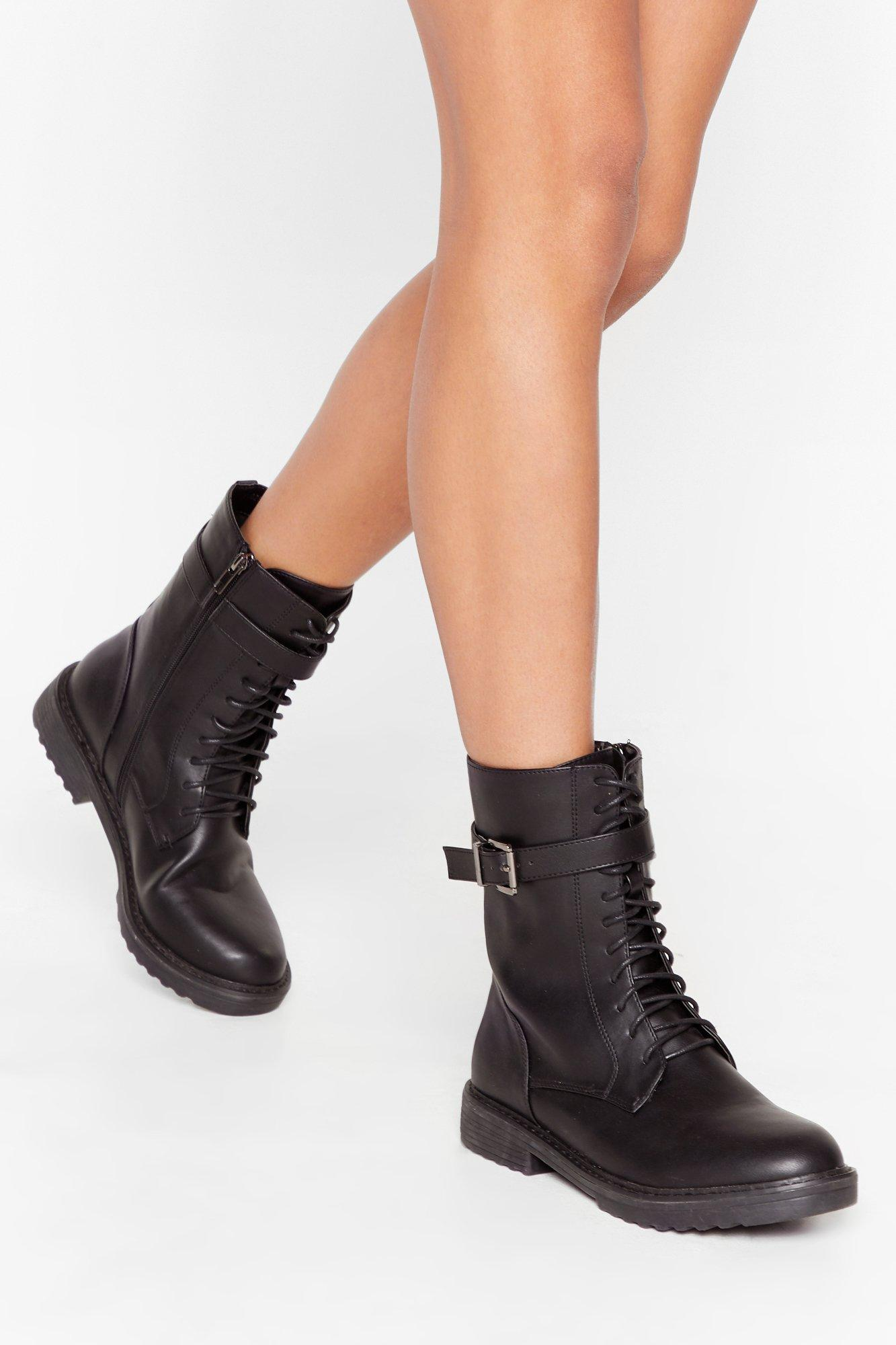 Image of All Over the Lace Faux Leather Biker Boots