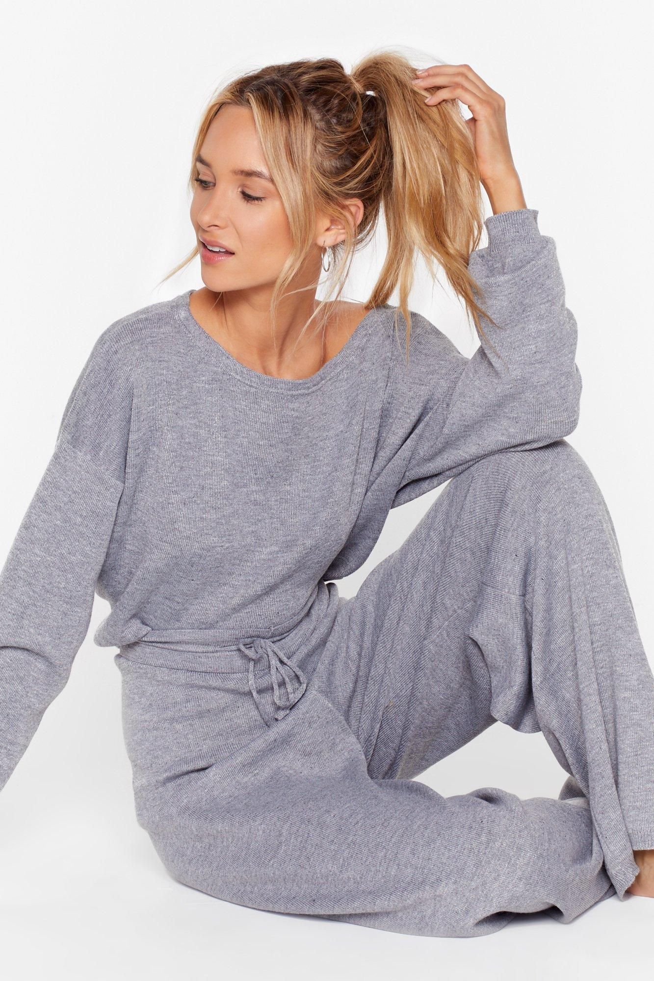 Image of Take No Knit Sweater and Wide-Leg Lounge Set