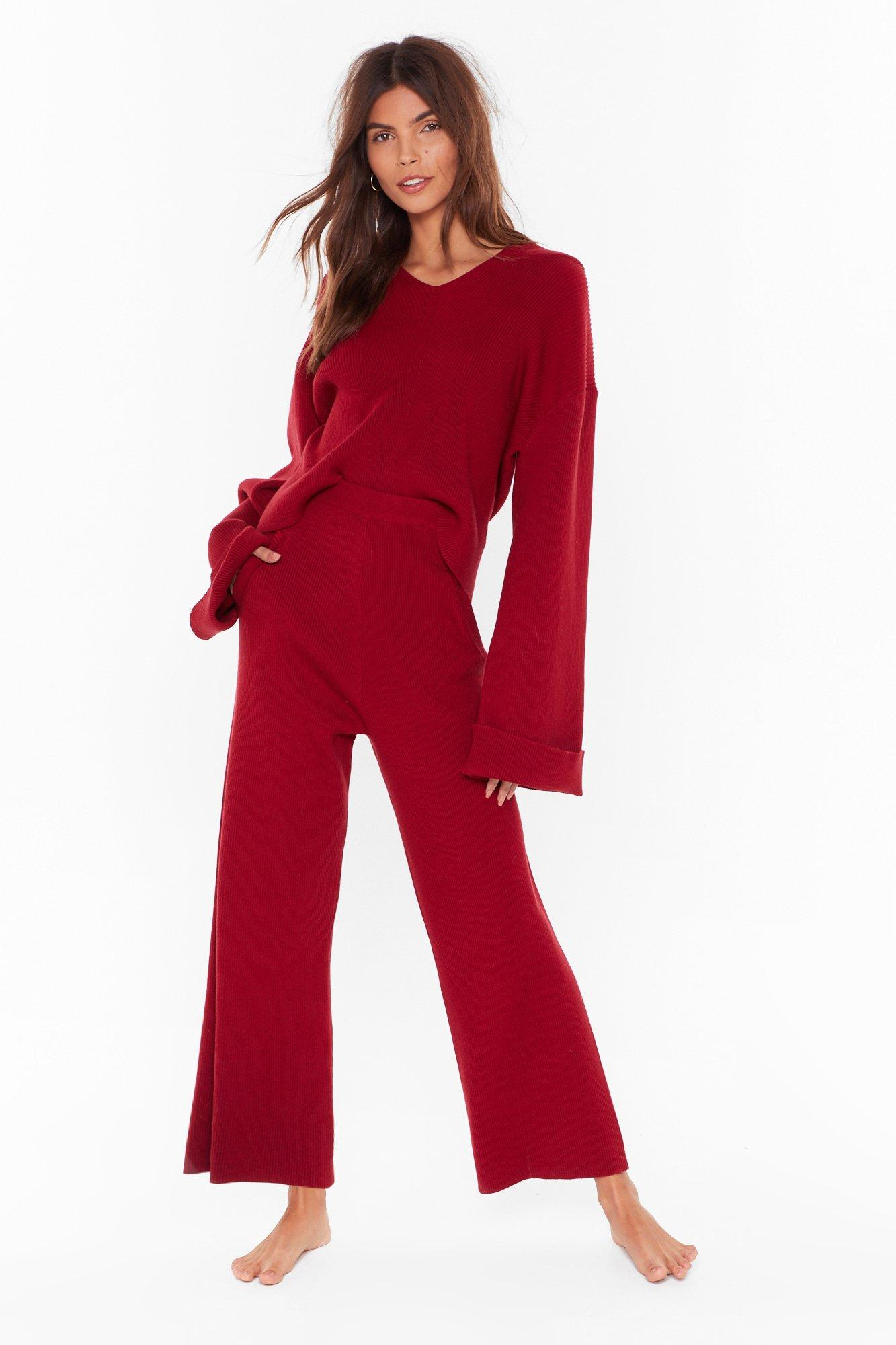 Image of Rest Up Ribbed Hoodie and Wide-Leg Lounge Set