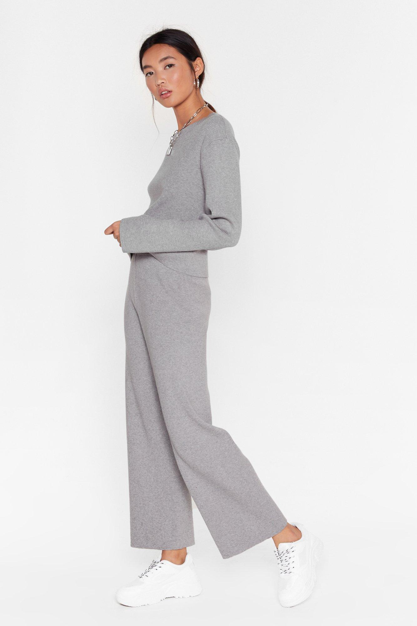 Image of Plan Cancelled Knitted Sweater and Wide-Leg Pants
