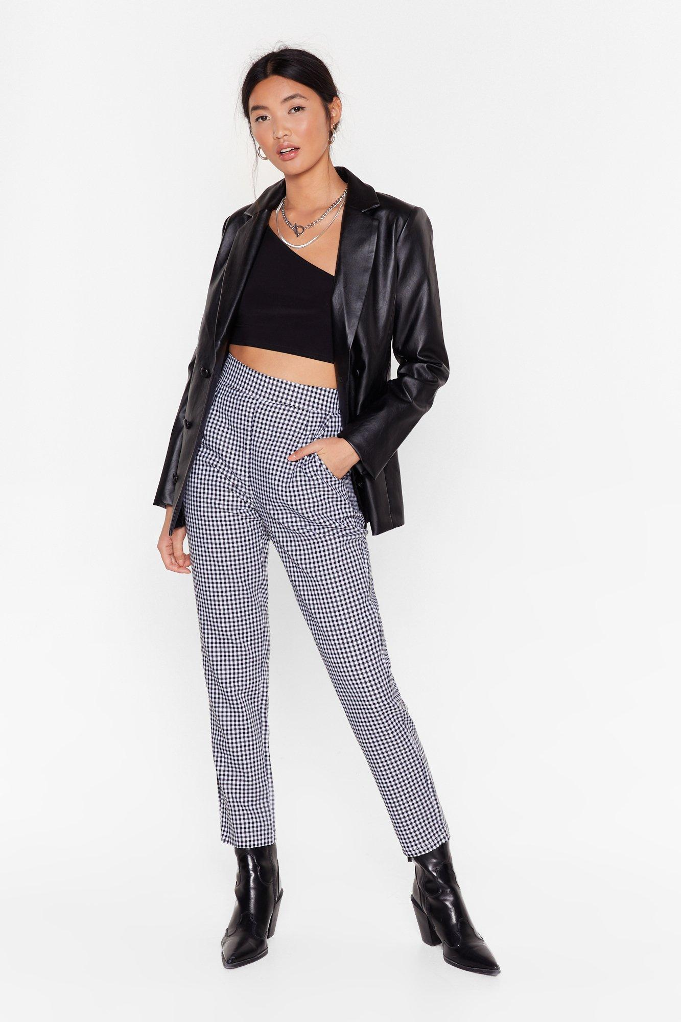 Image of Gingham Up High-Waisted Pants