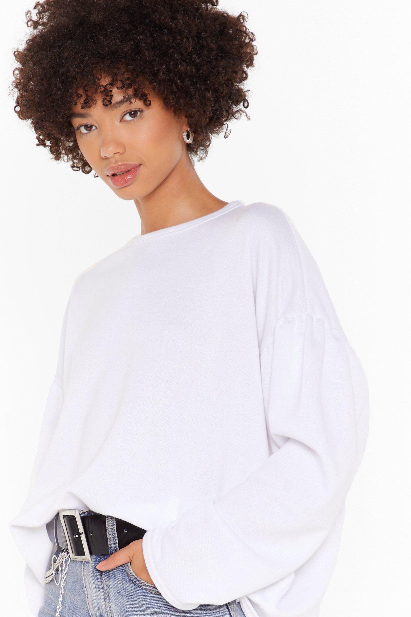 Image of Make 'Em Sweat Oversized Puff Sleeve Sweatshirt