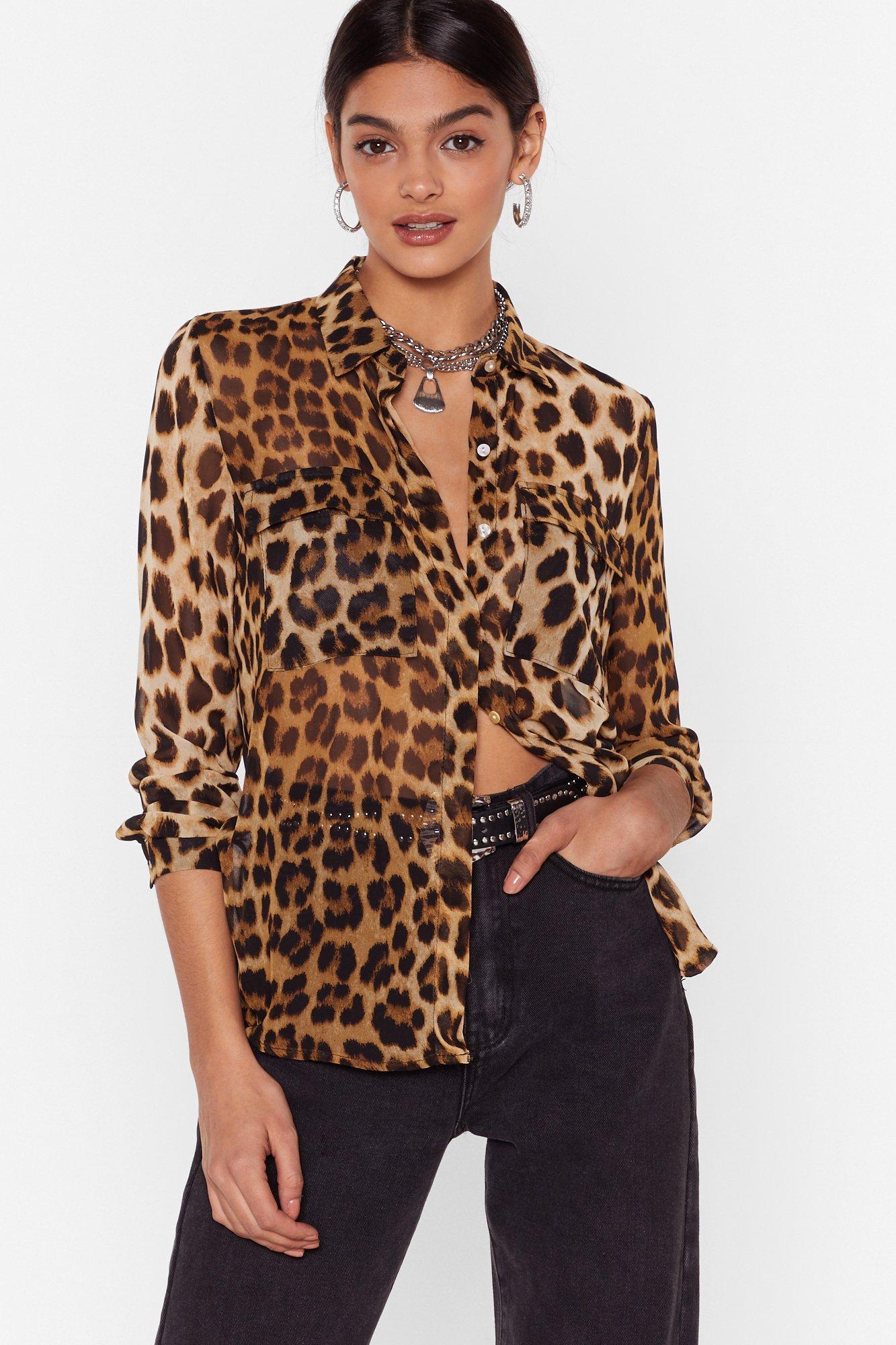 Image of Wild Weekend Sheer Leopard Shirt