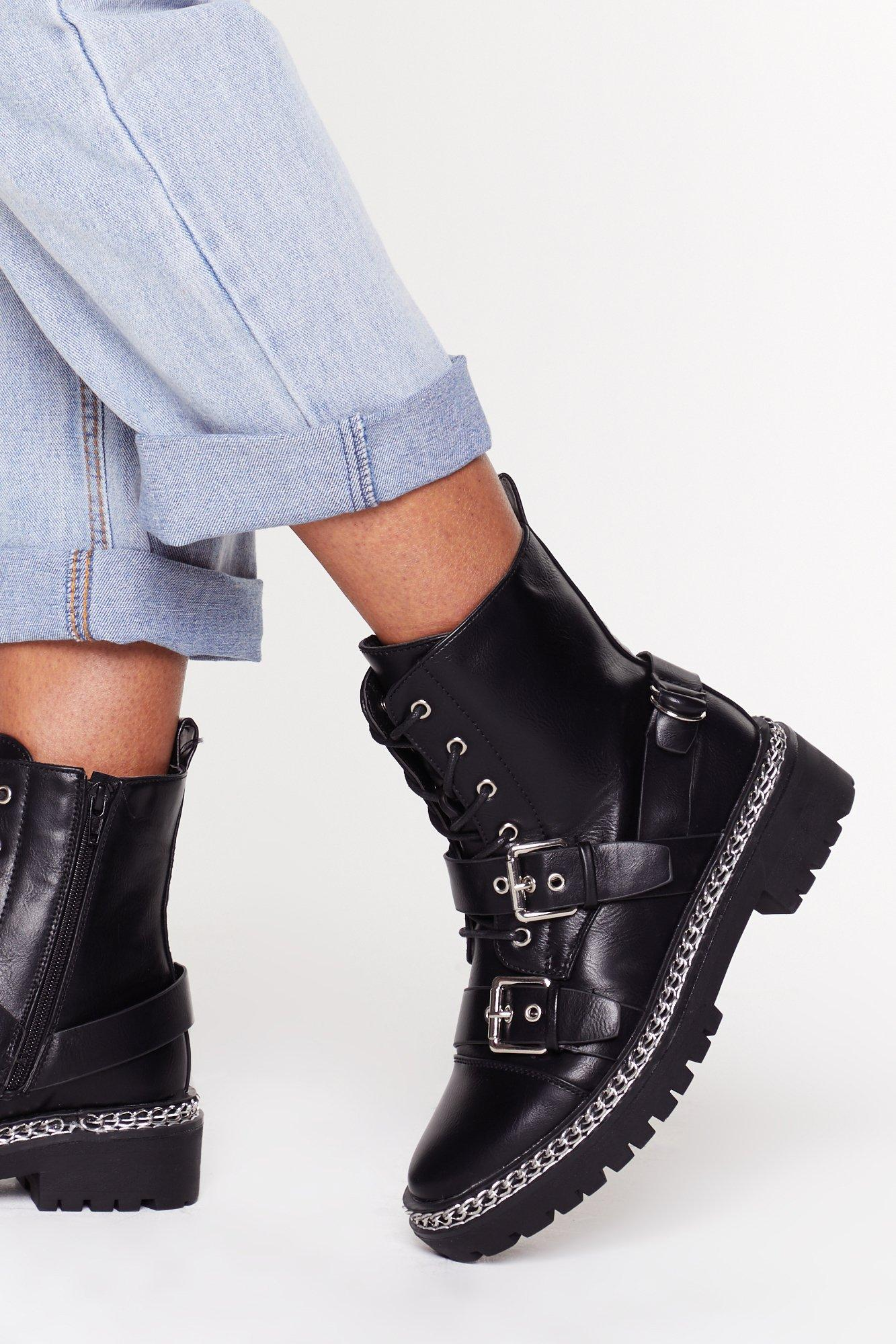 Image of Boots Are Made for Walking Chain Faux Leather Boots