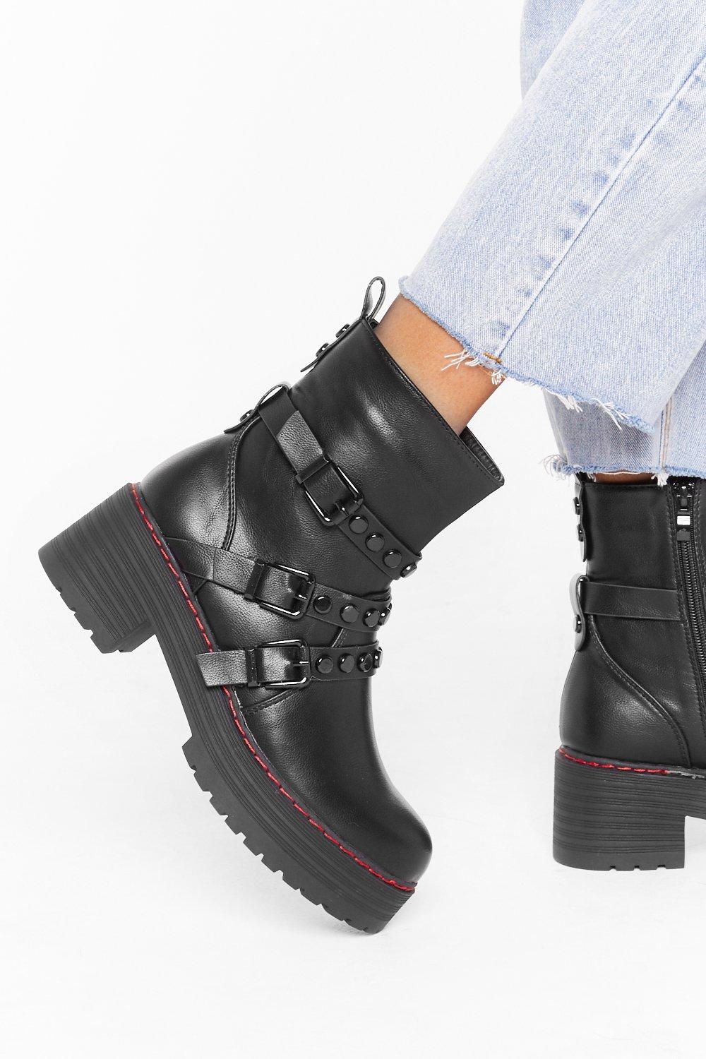 Image of Really Stud Out Faux Leather Buckle Boots