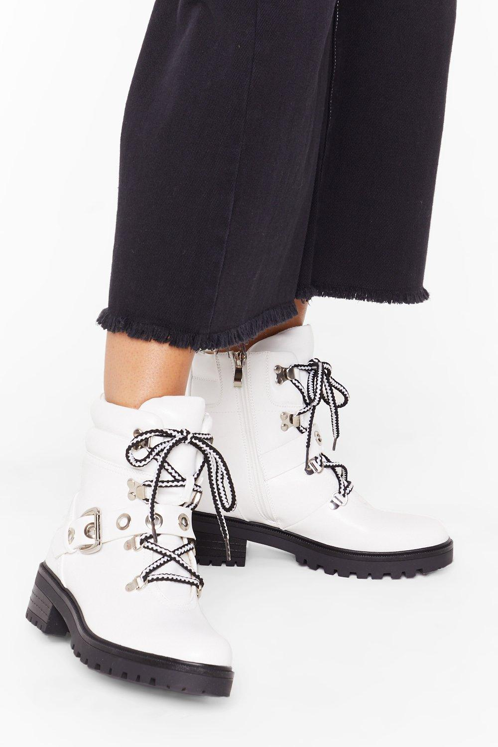 Image of Eyelet My Mind Wander Faux Leather Biker Boots