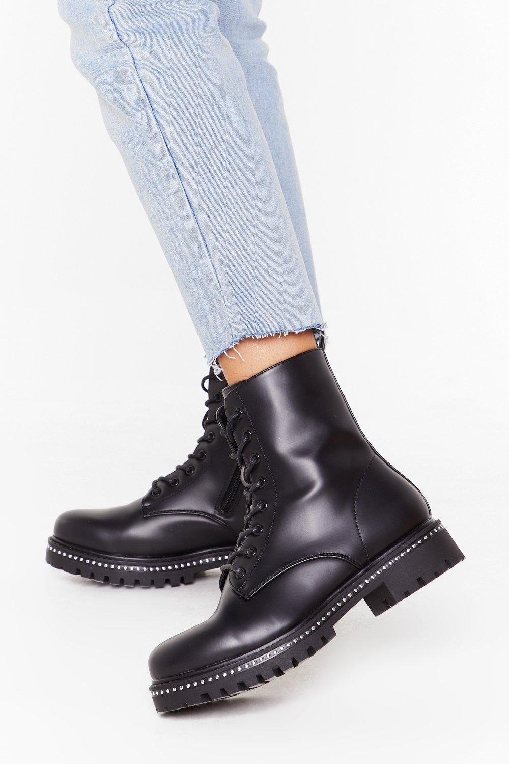 Image of Never Had It So Stud Faux Leather Biker Boots