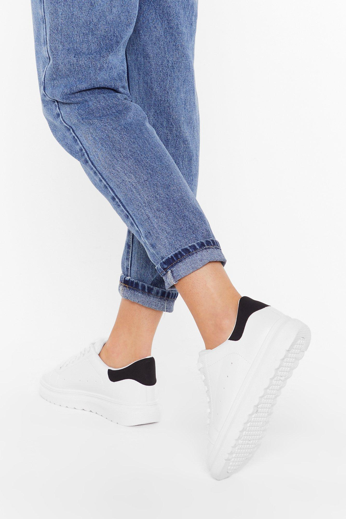 Image of Just Us Two Tone Faux Leather Sneakers