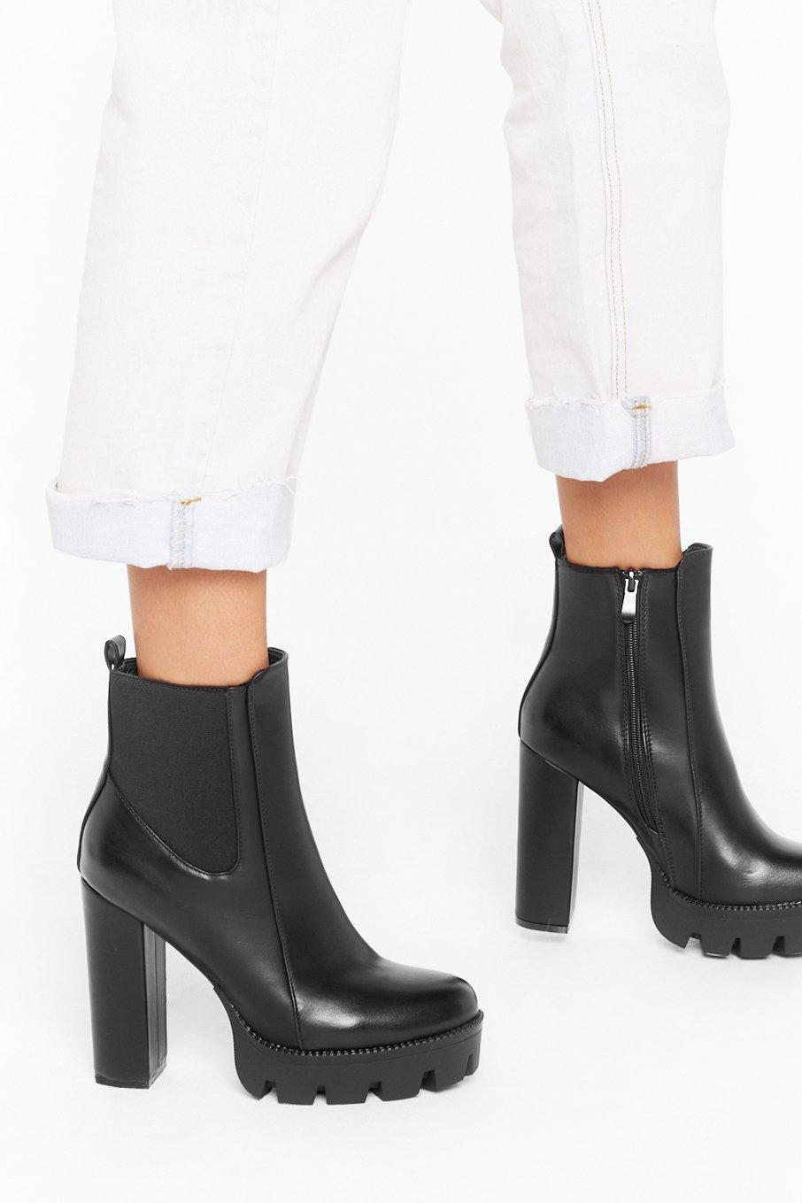Image of End On a High Note Faux Leather Platform Boots