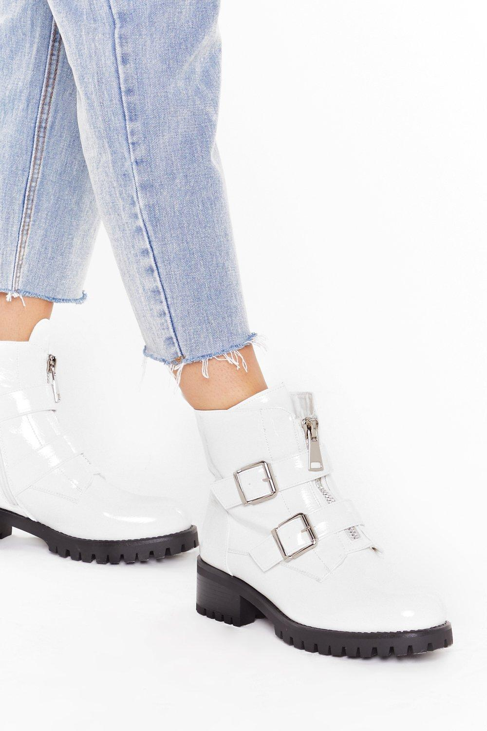 Image of Tell Zip How Zip Is Faux Leather Biker Boots