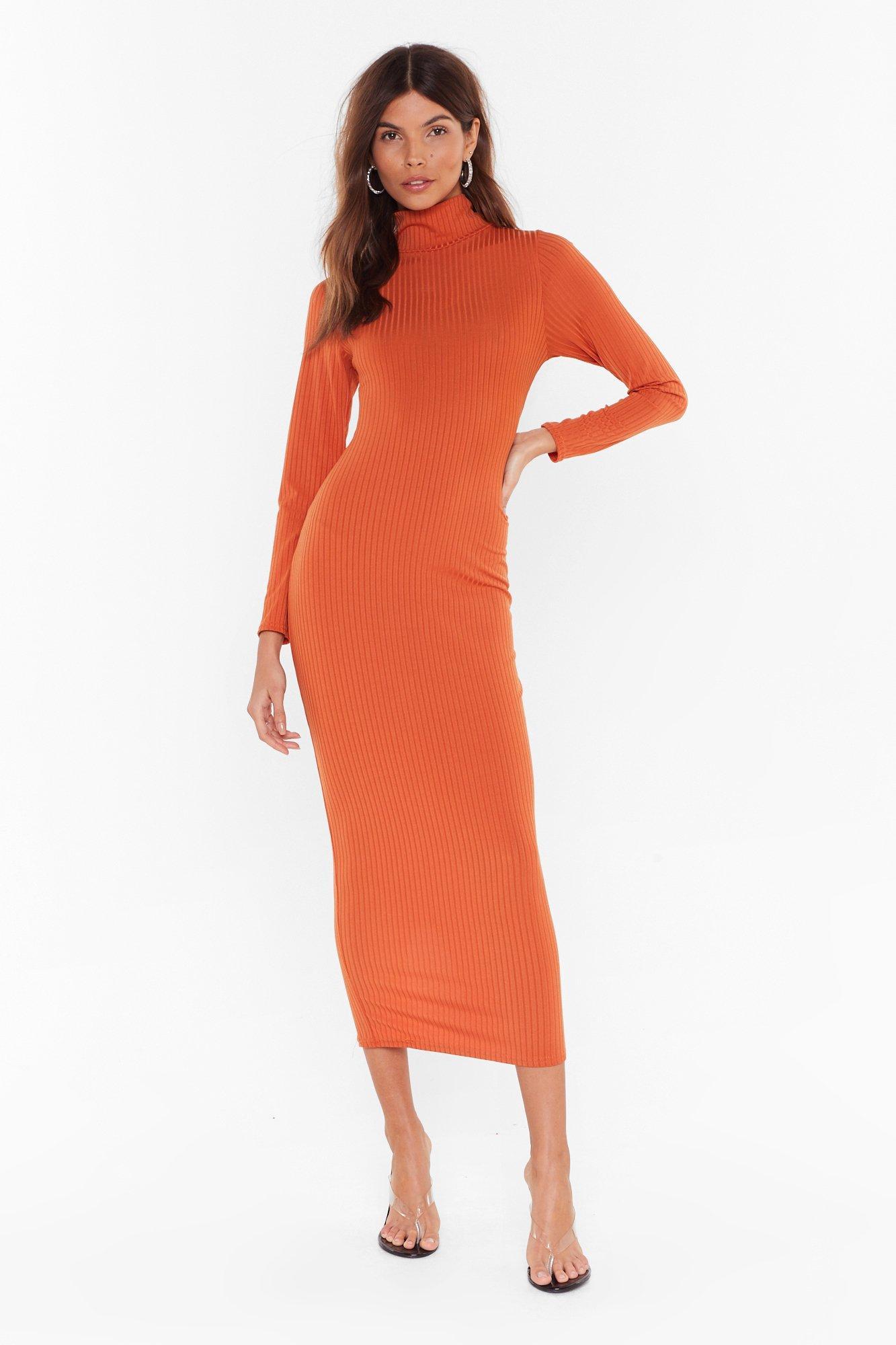 Image of Knit Won't Take Long Turtleneck Midi Dress