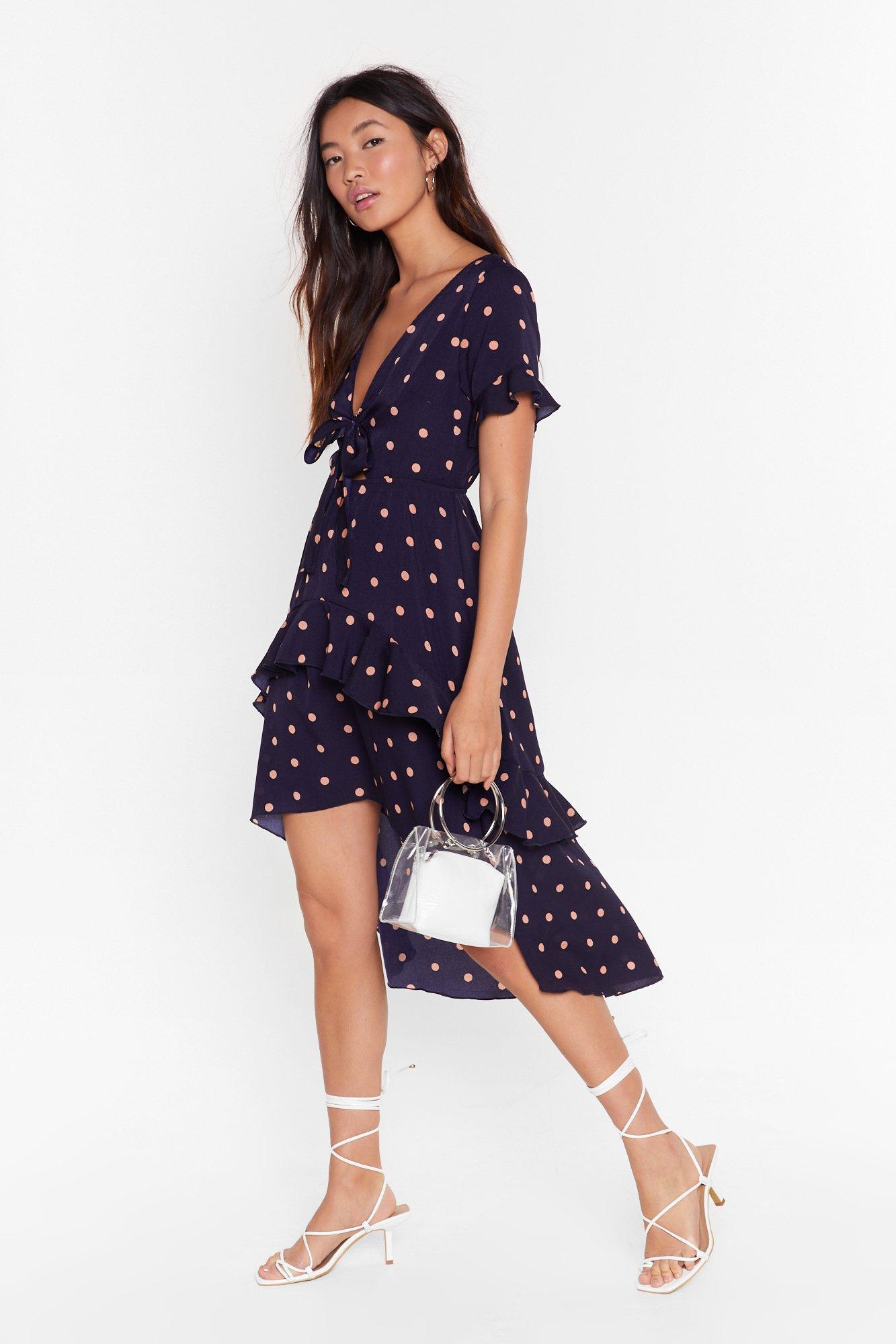Image of Tie-ing to Find a Balance Polka Dot Midi Dress