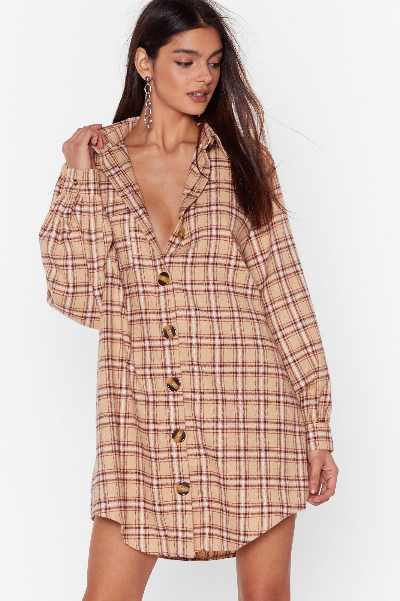 Image of Cut My Check Oversized Shirt Dress