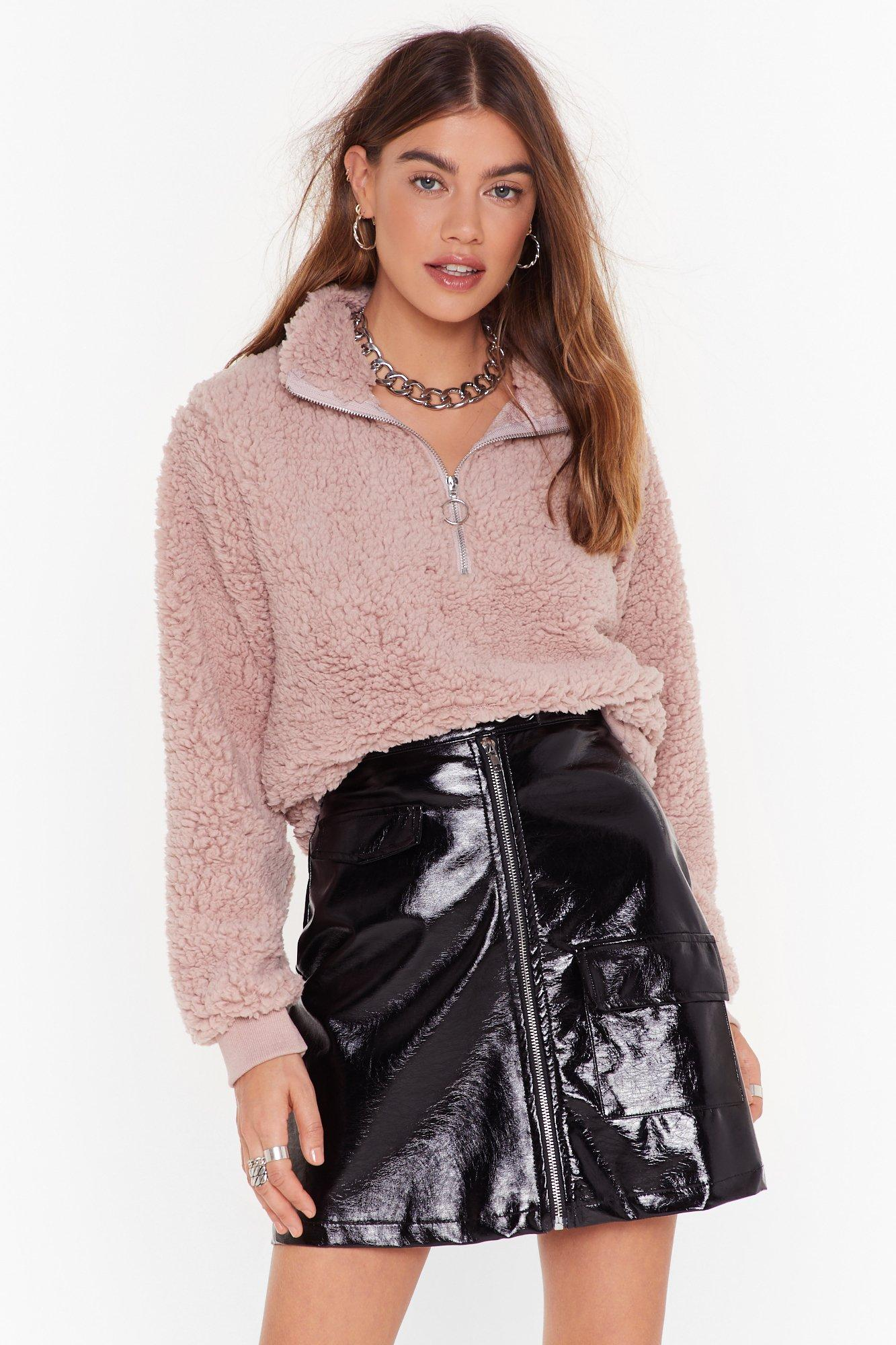 Image of Take a Soft Approach Faux Shearling Sweatshirt