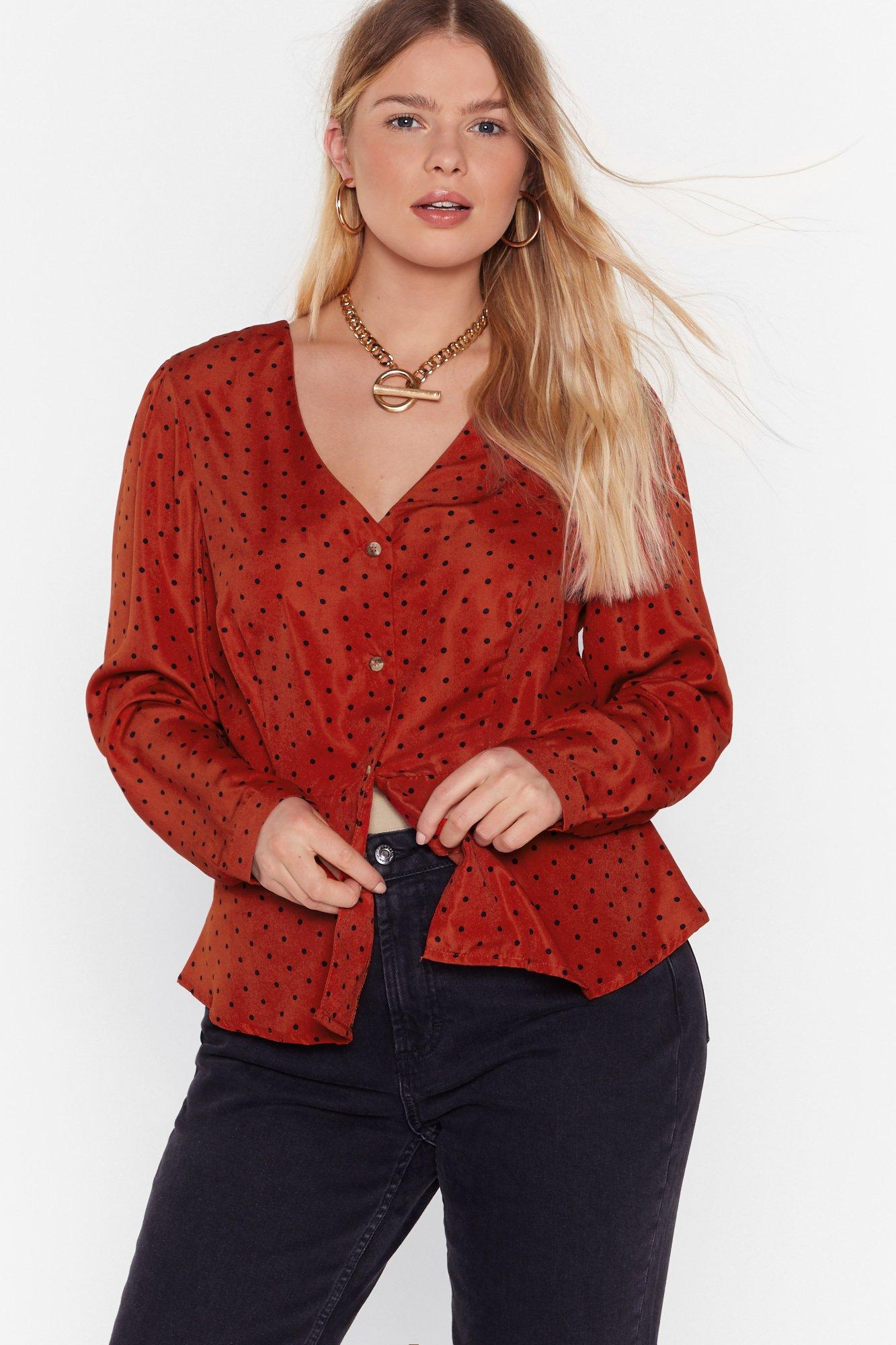 Image of Polka Hot Button-Down Plus Blouse