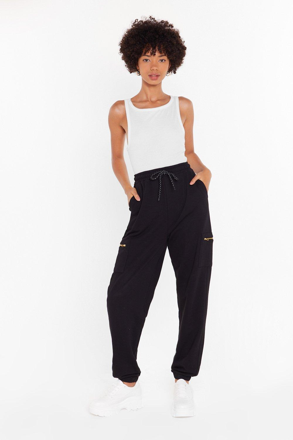 Image of This is Zip High-Waisted Cargo Joggers