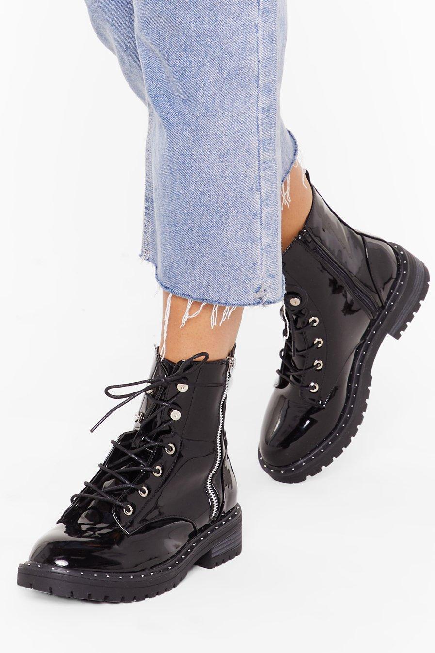 Image of Lace 'Em Know Patent Biker Boots
