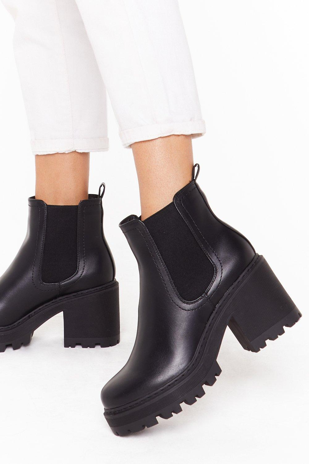 Image of Stand With Us Faux Leather Cleated Boots