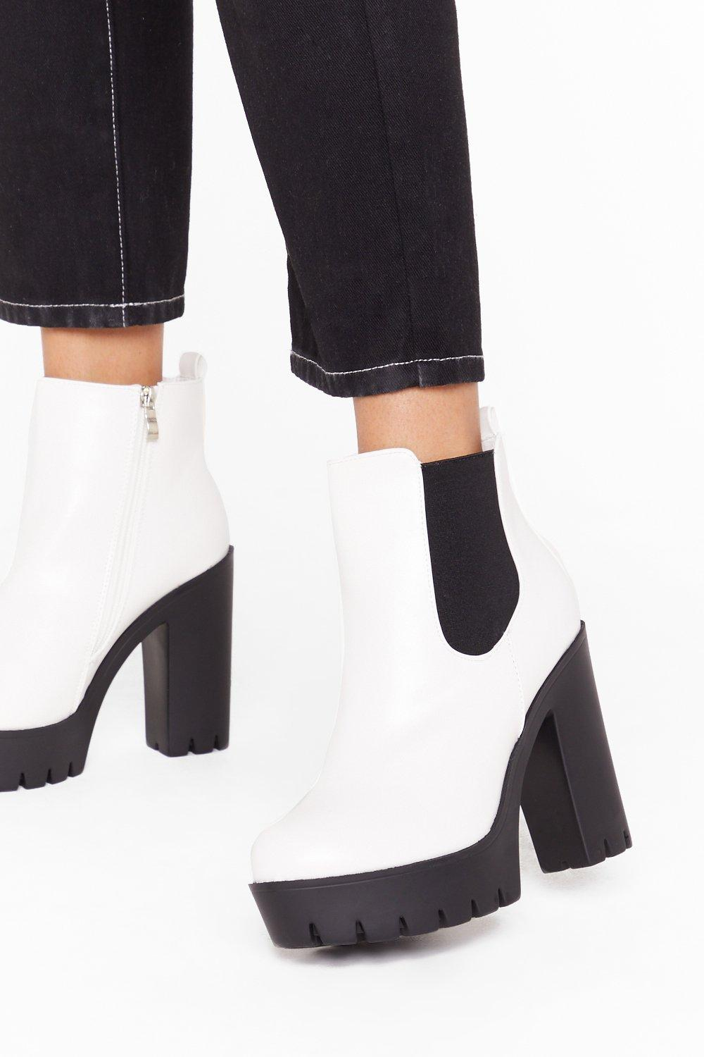 Image of Hey What's Up Faux Leather Platform Boots