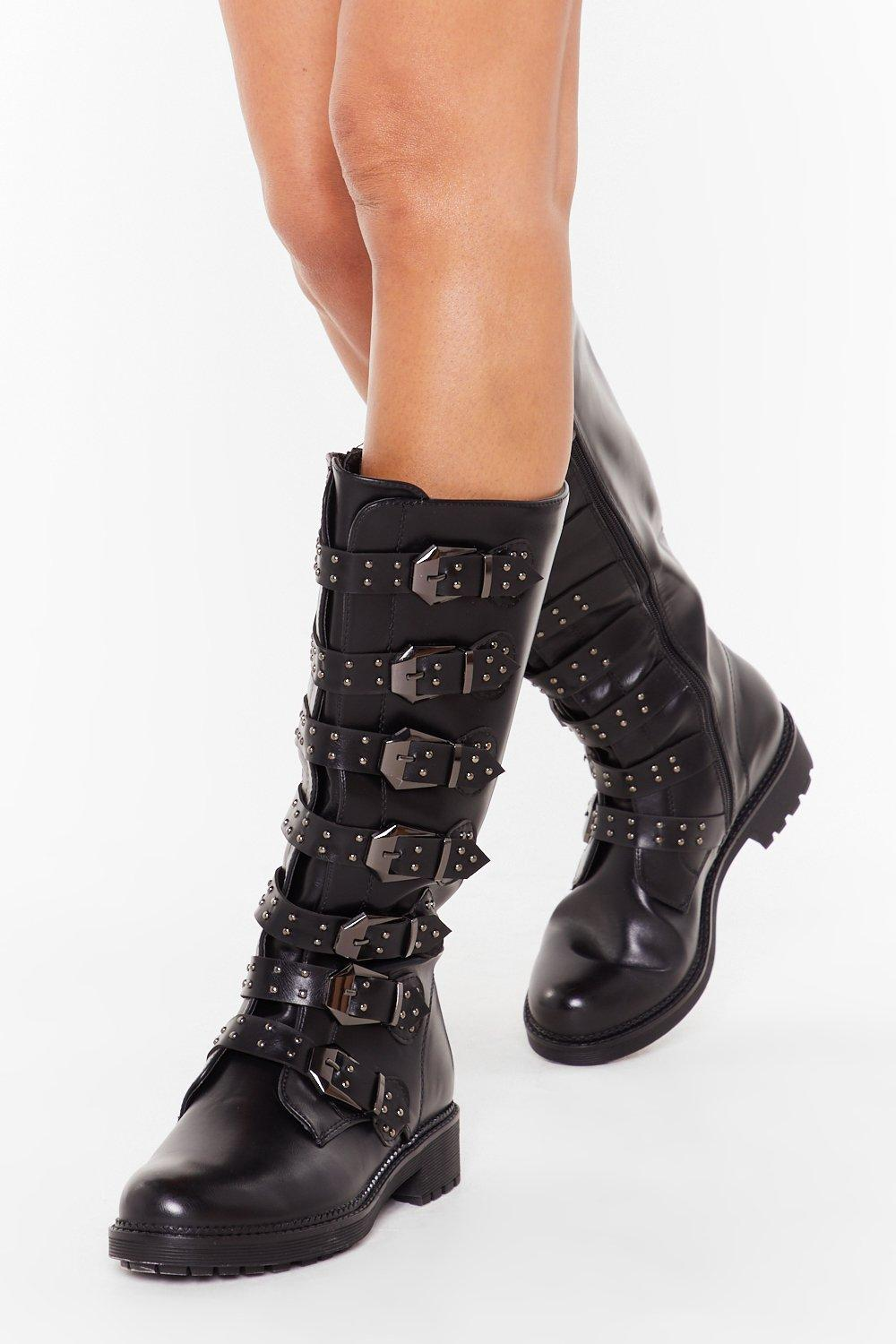 Image of Buck It Faux Leather Calf-High Boots