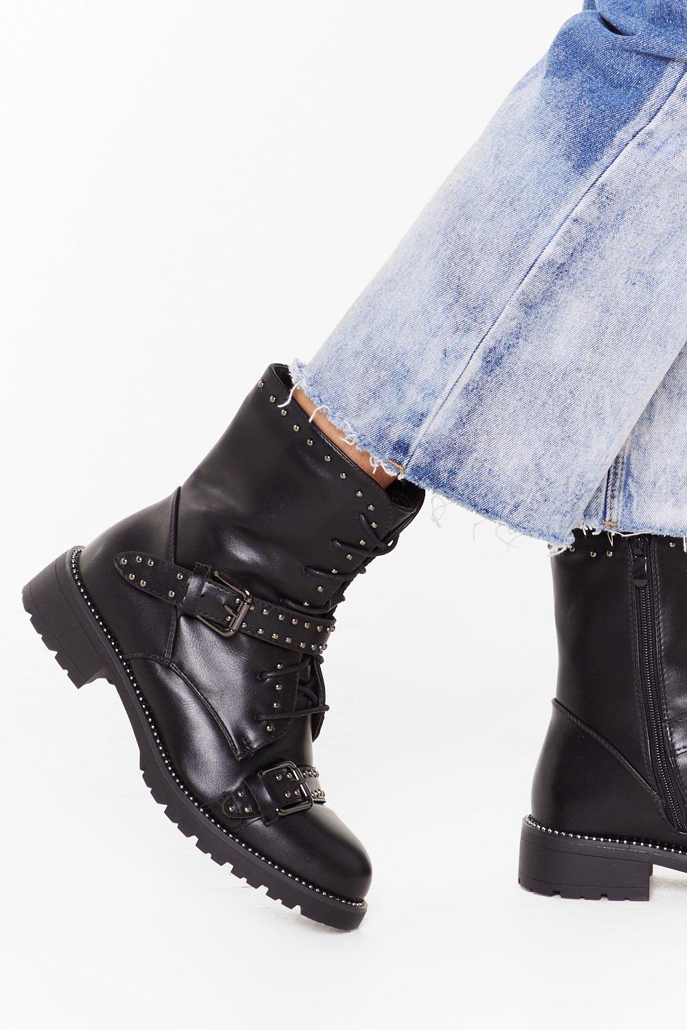 Image of Jump on Babe Lace-Up Biker Boots