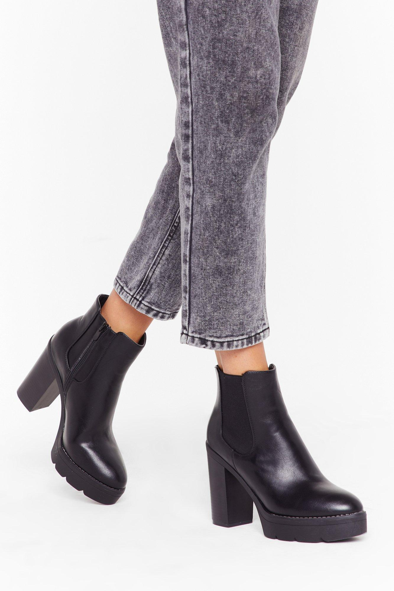 Image of Step It Up Faux Leather Platform Boots