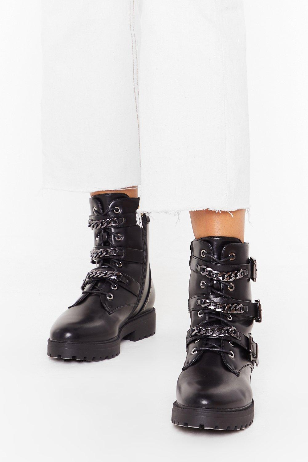 Image of Chain-ge of Direction Faux Leather Studded Boots