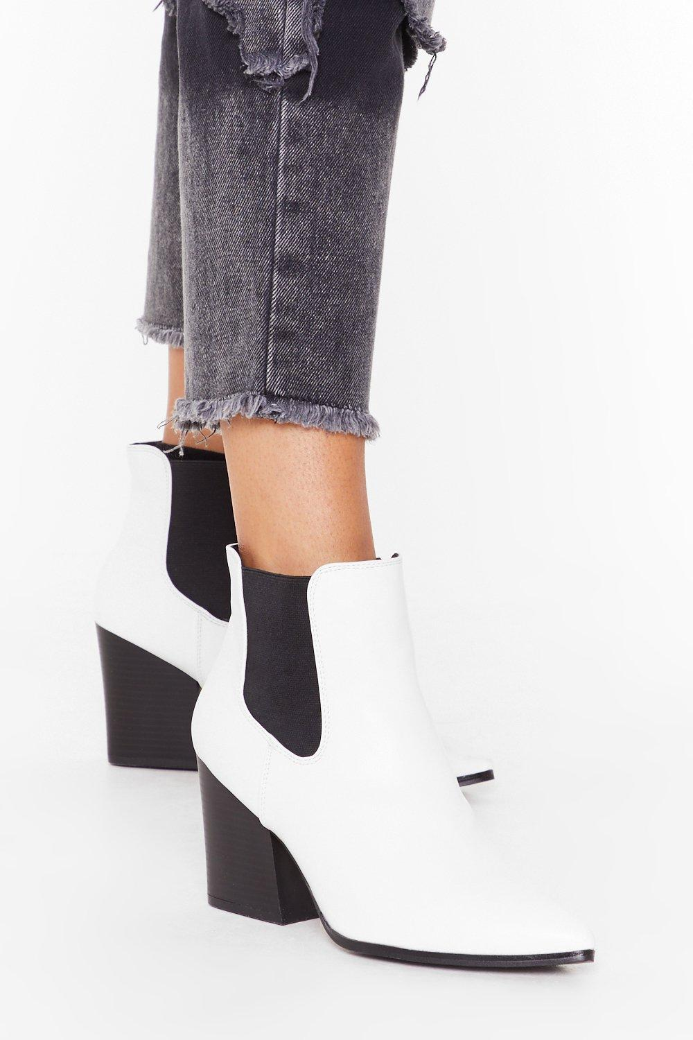 Image of Faux leather heeled chelsea boots