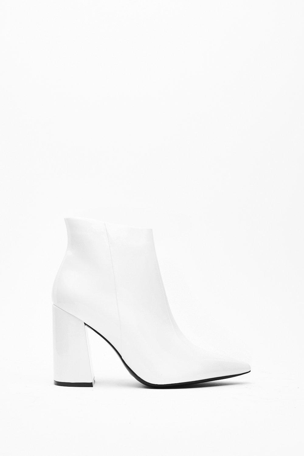 Image of Patent Flare Heel Ankle Boot