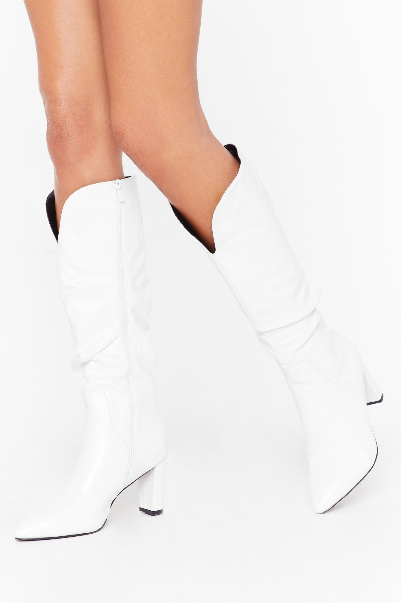 Image of V Right There Faux Leather Knee-High Boots