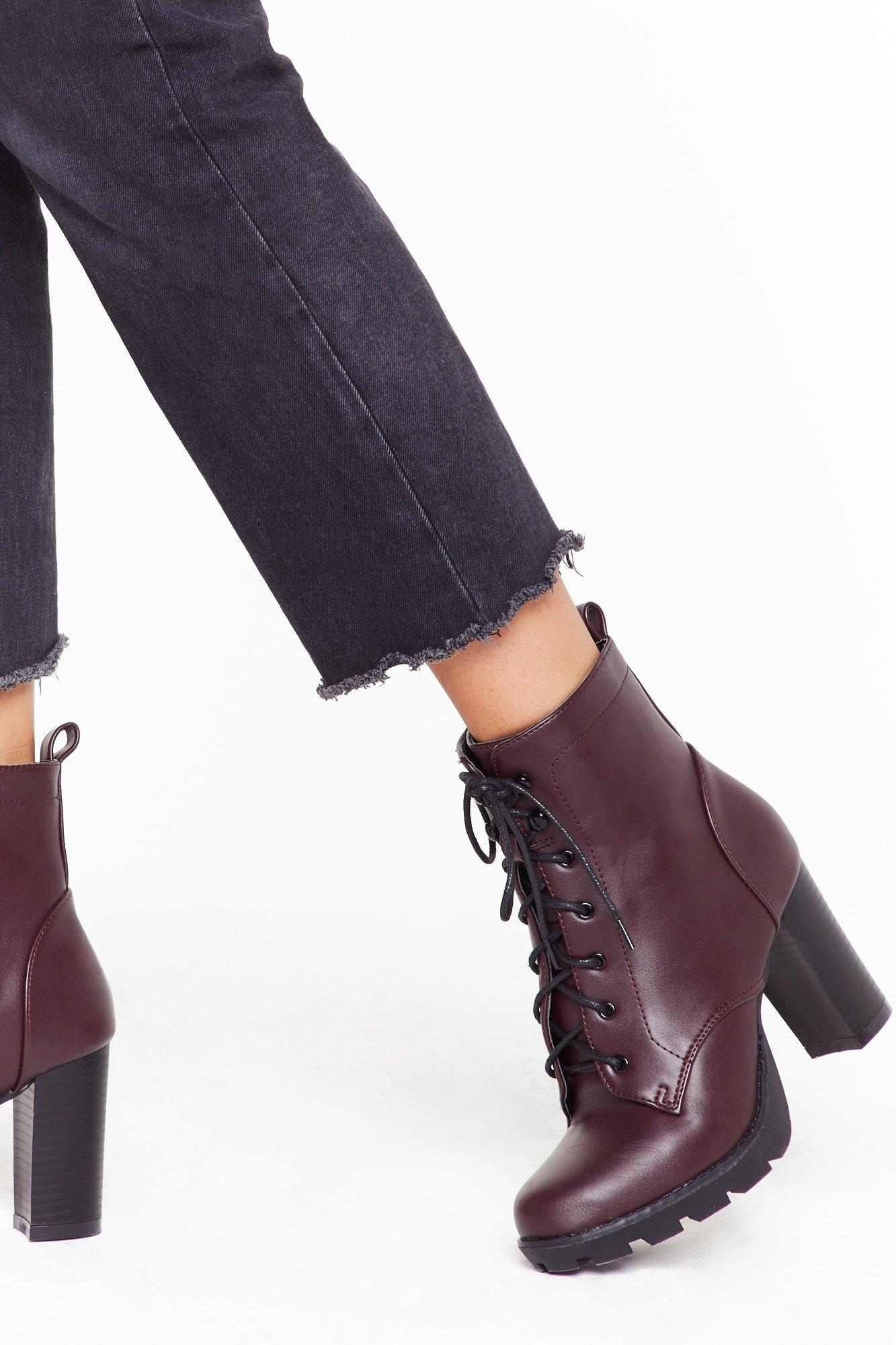Image of Lace-Up to Your Fears Faux Leather Platform Boots