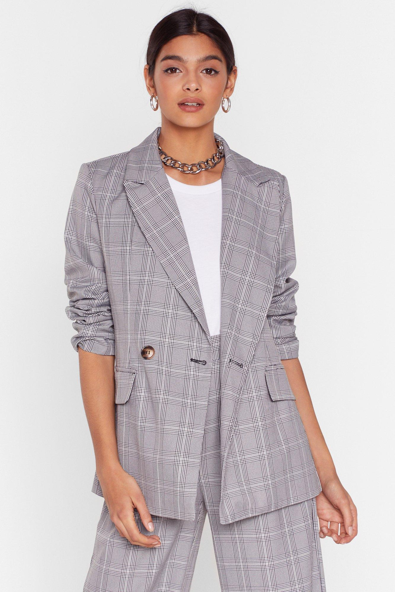 Image of Grid It Your All Check Oversized Blazer